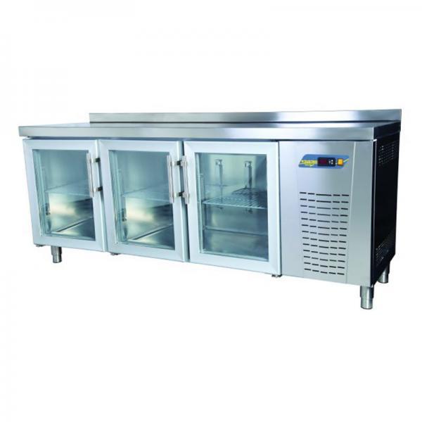 TPS-63-GD Tezgah Tip 3 Kapılı Snack Buzdolabı - Cam Kapılı